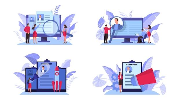 Zestaw koncepcji kandydata do pracy. idea zatrudnienia i rozmowa kwalifikacyjna. wyszukiwanie menedżera rekrutacji. ilustracja w stylu kreskówki