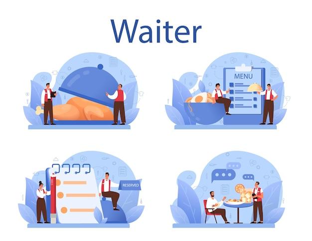 Zestaw koncepcji kelnera. obsługa restauracji w mundurze, obsługa cateringowa. ustawienie stołu i kalkulacja klienta, dzielenie się wskazówkami. odosobniony