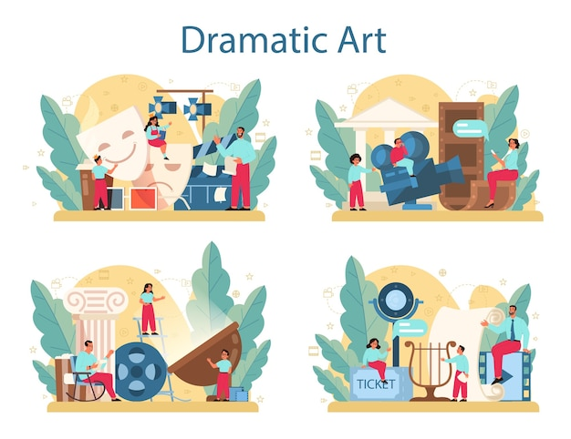 Zestaw koncepcji klubu dramatycznego. przedmiot kreatywny dla dzieci, zabawa w szkole. dziecko studiujące aktorstwo na scenie i sztuce teatralnej.