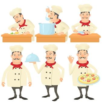 Zestaw koncepcji kucharza kucharza