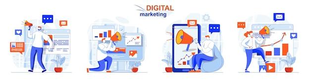 Zestaw koncepcji marketingu cyfrowego analiza danych promocyjnych i reklama w internecie