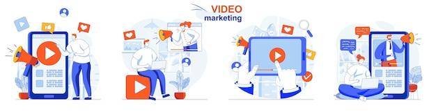 Zestaw koncepcji marketingu wideo tworzenie treści reklamowych promocja bloga wideo