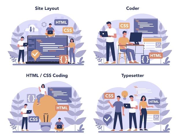 Zestaw koncepcji maszyny do pisania. budowa stron internetowych. proces tworzenia strony internetowej, kodowania, programowania, konstruowania interfejsu i tworzenia treści. ilustracja na białym tle wektor