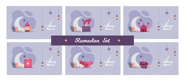 Zestaw koncepcji pięknej ulotki ramadan kareem święty mikołaj muzułmańskie święto z życzeniami z nocą, latarnią, uściskiem dłoni, słodkimi datami, półksiężycem i meczetem. teren płaski