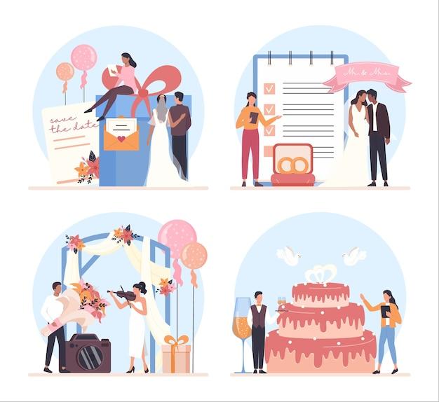 Zestaw koncepcji planowania ślubu. profesjonalny organizator planujący przyjęcie weselne.
