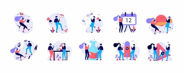 Zestaw koncepcji płaska konstrukcja nowoczesnej pracy zespołowej.