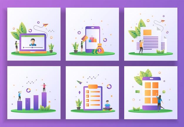 Zestaw koncepcji płaska konstrukcja. streaming online, płatności online, biuletyn, inwestycje, lista zadań, aplikacja mobilna.