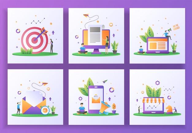 Zestaw koncepcji płaska konstrukcja. targetowanie, najświeższe informacje, zatrudniamy, wysyłamy pocztę, marketing cyfrowy, marketing strategiczny. , mobilna aplikacja