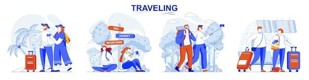 Zestaw koncepcji podróżowania podróżnicy latają na wakacjach turyści biorą podróż podróż
