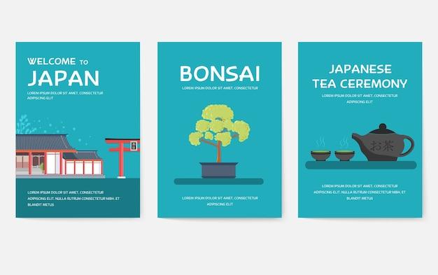 Zestaw koncepcji podróży podróży ozdoba kraju japonii.