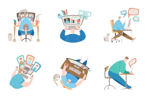 Zestaw koncepcji postaci do pracy w domu: mężczyzna dołącza do spotkania online, siedząc przy dużym monitorze komputera w przytulnej domowej przestrzeni roboczej ze zwierzętami i roślinami. ilustracja wektorowa w stylu płaski.