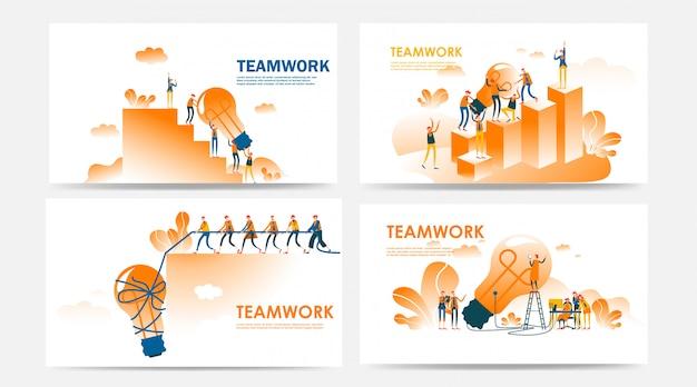 Zestaw koncepcji pracy zespołowej strony docelowej i strony internetowej z pracownikami i poszukiwanie nowych pomysłów