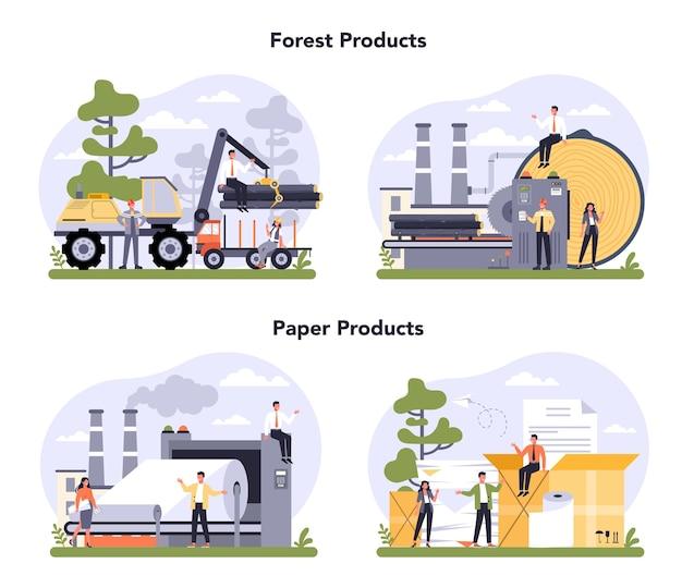 Zestaw koncepcji produkcji papieru i przemysłu drzewnego. proces fabryki papieru. cięcie drewna i robienie papieru. globalny standard klasyfikacji branżowej.