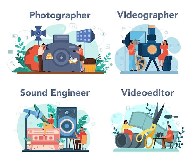 Zestaw koncepcji produkcji wideo, fotografii i inżynierii dźwięku.