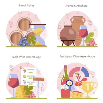 Zestaw koncepcji produkcji wina. dojrzewanie wina w drewnianej beczce lub glinianej amforze.