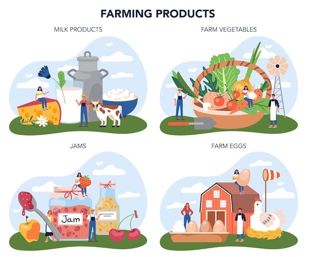 Zestaw koncepcji produktu farmy