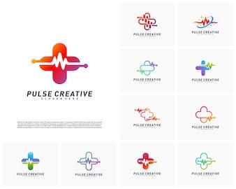Zestaw koncepcji projektowania logo Plus Medical Pulse