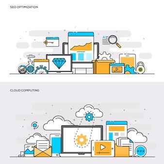 Zestaw koncepcji projektowych banerów płaskich kolorów linii dla optymalizacji seo i przetwarzania w chmurze. koncepcje baneru internetowego i materiałów drukowanych. ilustracji wektorowych