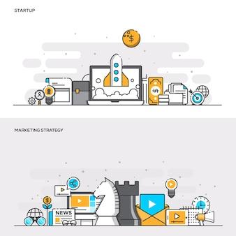 Zestaw koncepcji projektowych banerów płaskiej linii kolorów dla strategii uruchamiania i marketingu. koncepcje baneru internetowego i materiałów drukowanych. ilustracji wektorowych