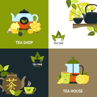 Zestaw koncepcji projektu herbaty