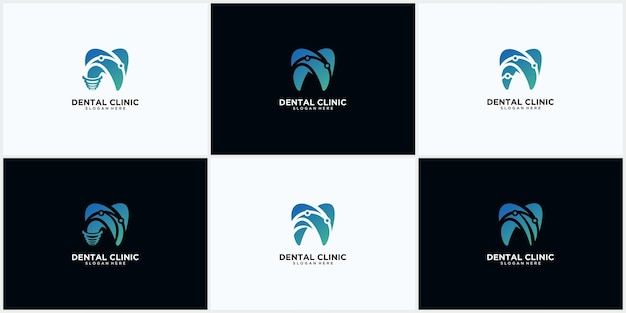 Zestaw koncepcji projektu logo kliniki dentystycznej, logo implantu dentystycznego, nowoczesny szablon logo dental care