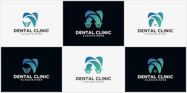 Zestaw koncepcji projektu logo kliniki dentystycznej, logo implantu dentystycznego, szablon logo nowoczesnej opieki stomatologicznej