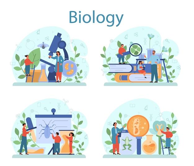 Zestaw koncepcji przedmiotu w szkole biologii. naukowiec badający człowieka i przyrodę. lekcja anatomii i botaniki. idea edukacji i eksperymentu.