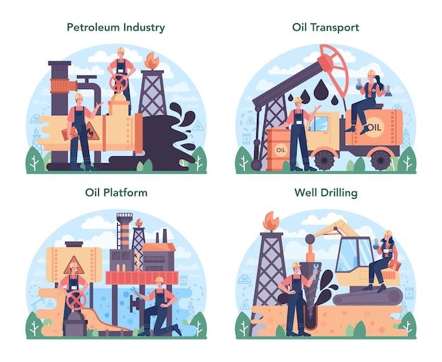 Zestaw koncepcji przemysłu naftowego. platforma pumpjack wydobywająca ropę naftową
