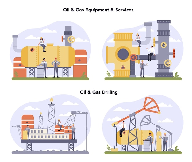 Zestaw koncepcji przemysłu ropy i gazu. fabryka paliw, beczka z olejem napędowym. przemysłowe poszukiwania ropy naftowej, oleju napędowego. nowoczesna technologia do eksploracji zasobów naturalnych.