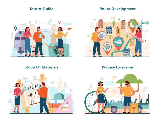 Zestaw koncepcji przewodnika turystycznego. turyści słuchający historii miasta i jego atrakcji.