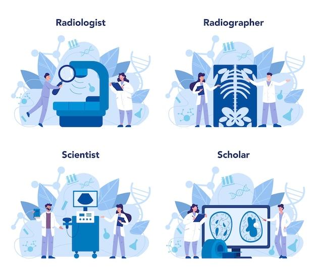Zestaw koncepcji radiologa. lekarz badający zdjęcie rentgenowskie ludzkiego ciała za pomocą tomografii komputerowej, rezonansu magnetycznego i usg. idea opieki zdrowotnej i diagnostyki chorób. ilustracja na białym tle wektor w stylu cartoon