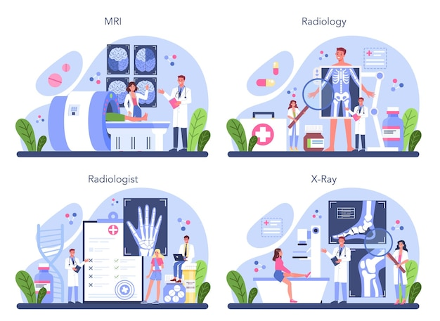 Zestaw koncepcji radiologii. idea opieki zdrowotnej i diagnostyki chorób.