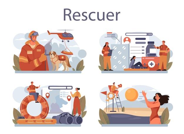 Zestaw koncepcji ratownika. pilna pomoc. ratownik pogotowia ratunkowego udzielający pierwszej pomocy poszkodowanemu. ratownik na plaży lub operacja znajdowania ludzi. ilustracja na białym tle płaski wektor