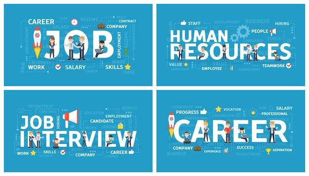 Zestaw koncepcji rekrutacji. wyszukaj nowego pracownika biurowego w pracy. idea zatrudnienia. zasoby ludzkie i rozmowa kwalifikacyjna, budowanie kariery. ilustracja na białym tle płaski wektor