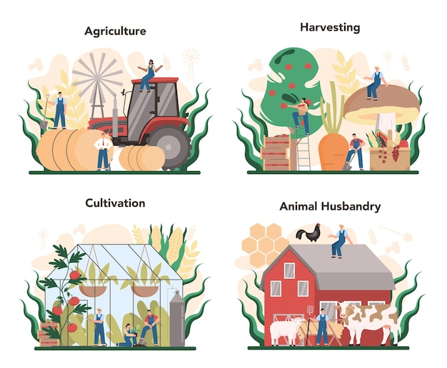Zestaw Koncepcji Rolnictwa. Uprawa I Produkcja żywności W Rolnictwie. Wiejskie Zbiory Artykułów Spożywczych. Hodowla Zwierząt Wiejskich. Izolowane Płaskie Ilustracja Premium Wektorów