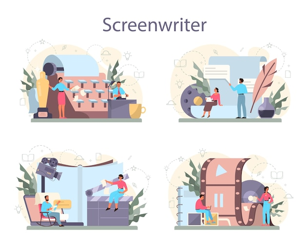 Zestaw koncepcji scenarzysty. osoba tworzy scenariusz do filmu. autor