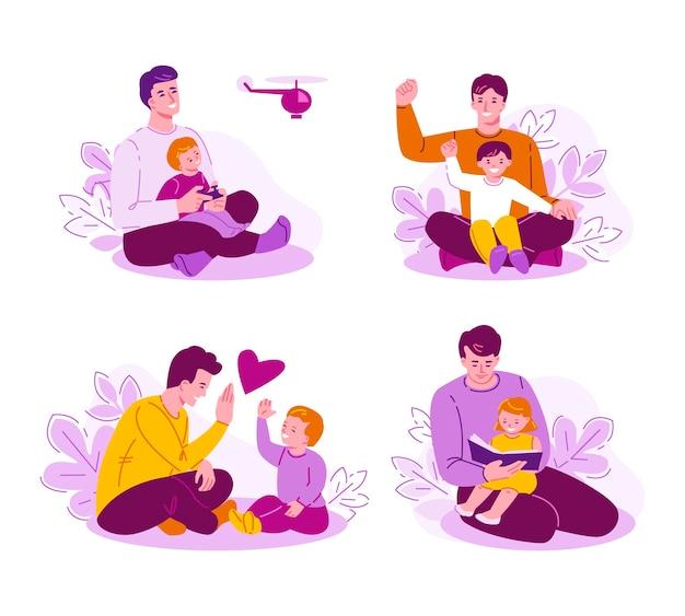 Zestaw koncepcji spędzania czasu razem ojciec i dzieci. szczęśliwa rodzina w przyrodzie.