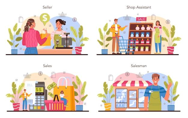 Zestaw koncepcji sprzedawcy. profesjonalny pracownik w supermarkecie, sklepie, sklepie. inwentaryzacja, merchandising, księgowość kasowa i kalkulacje. obsługa klienta, operacja płatnicza. płaska ilustracja wektorowa