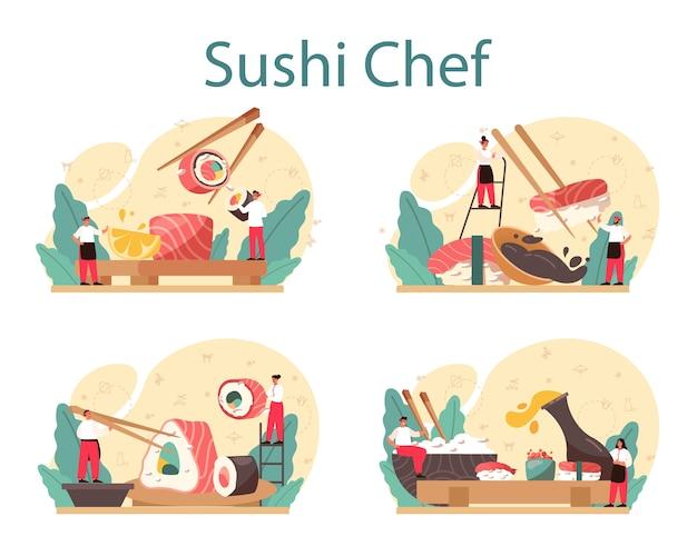 Zestaw koncepcji szefa kuchni sushi.