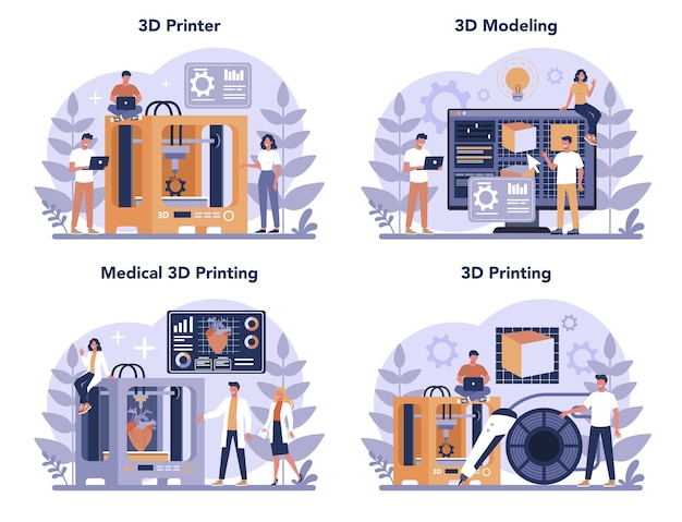 Zestaw koncepcji technologii druku 3d. drukarka 3d i inżynier. nowoczesne prototypowanie i konstrukcja. ilustracja na białym tle wektor