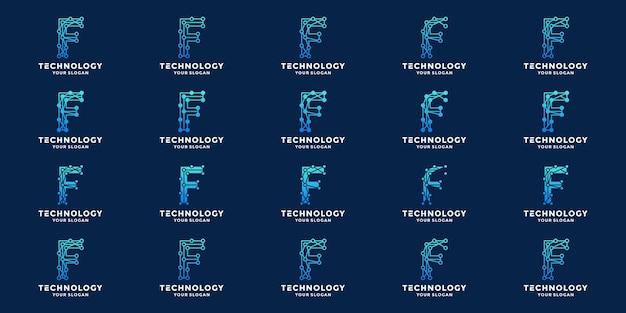 Zestaw koncepcji technologii litery f, kolekcje projektowania logo dot