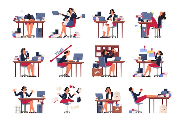 Zestaw koncepcji terminu. pomysł na wiele pracy i mało czasu. pracownik w pośpiechu. panika i stres w biurze. problemy biznesowe, wielozadaniowość. ilustracja