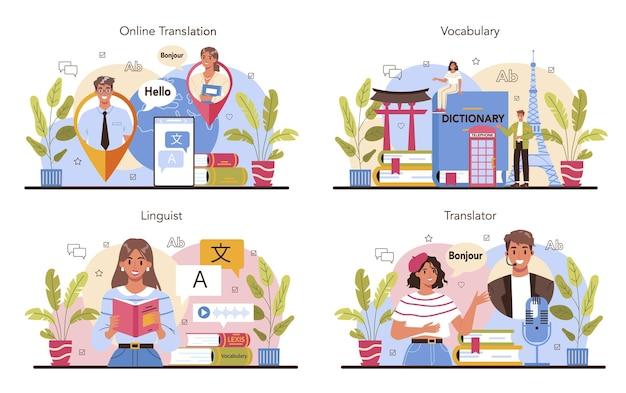 Zestaw koncepcji tłumacza. językoznawca tłumaczący dokumenty, książki i przemówienia. tłumacz wielojęzyczny korzystający ze słownika, usługi tłumaczeniowe. ilustracja wektorowa na białym tle