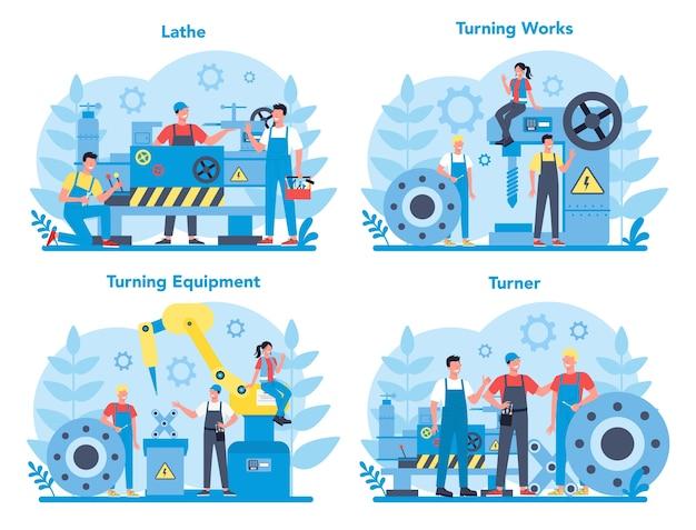 Zestaw koncepcji tokarki lub tokarki. pracownik fabryki używający tokarki do wykonywania metalowych detali. obróbka metali i produkcja przemysłowa.
