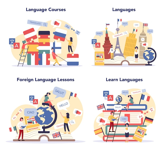 Zestaw Koncepcji Uczenia Się Języka Premium Wektorów