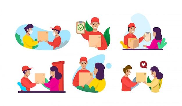Zestaw koncepcji usług dostawy e-commerce płaska konstrukcja
