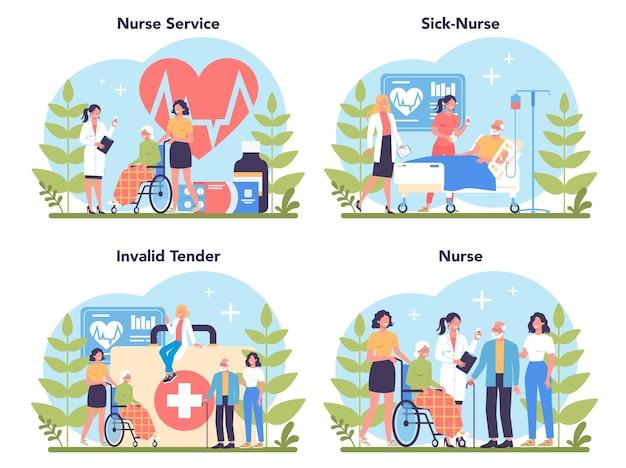 Zestaw koncepcji usług pielęgniarki. zawód medyczny, personel szpitala i przychodni. profesjonalna pomoc dla starszej cierpliwości.