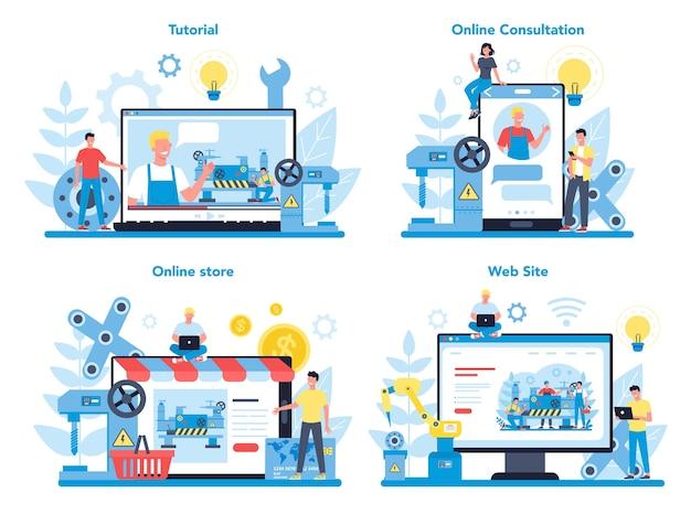 Zestaw koncepcji usługi online lub platformy tokarki lub tokarki. pracownik fabryki używający tokarki do wykonywania metalowych detali. obróbka metali i produkcja przemysłowa.