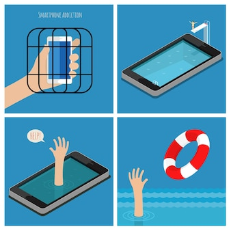 Zestaw koncepcji uzależnienia od smartfona. smartfon w klatce. zależna pomoc, pozbądź się zależności. płaska konstrukcja ilustracji wektorowych