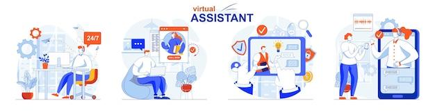 Zestaw koncepcji wirtualnego asystenta klienci piszą do czatów i dzwonią do operatorów